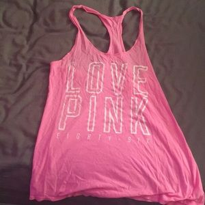"VS ""Love Pink"" Neon Pink Racer Back Tank Top"